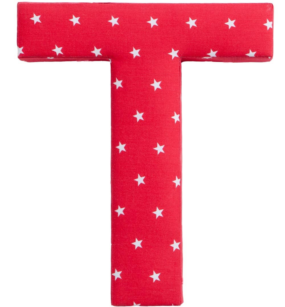Letter K Fabric Wall Letter - Red with White Stars - Letter K