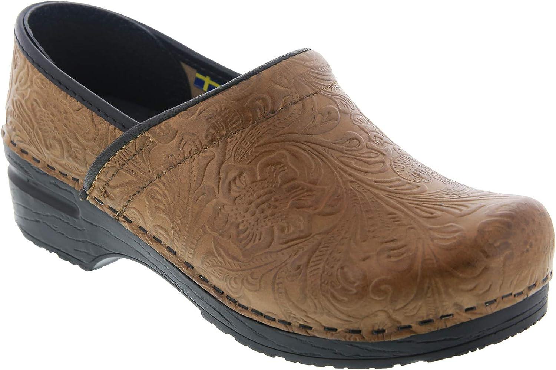 Bjork PRO Flora Carved Leather Clogs - Beige