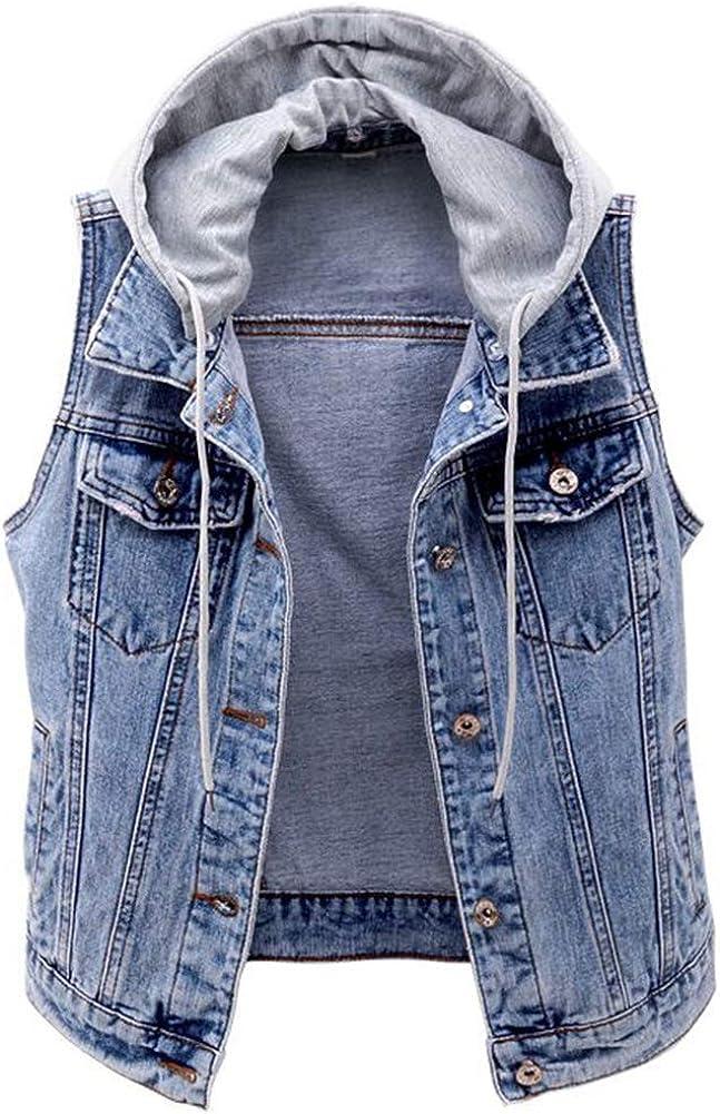Kedera Women's Distressed Sleeveless Denim Vest with Detachable Hoodie