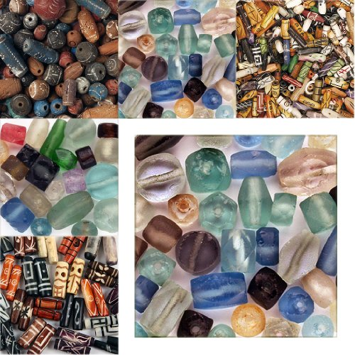 Recycled Glass Beads - 54+ Pieces - Most In Pairs