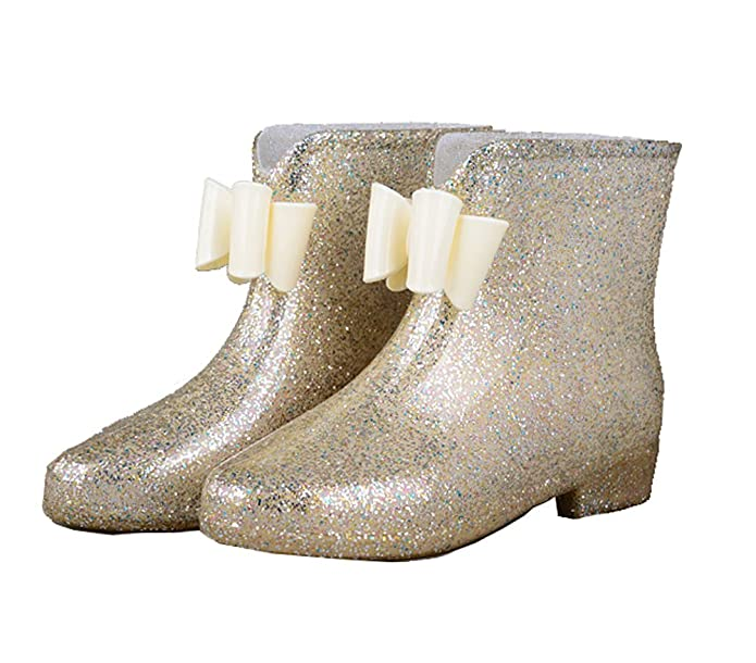 Retro Boots, Granny Boots, 70s Boots Getmorebeauty Women Gold Bows Jelly College Girls Ankle Rain Boots $29.90 AT vintagedancer.com