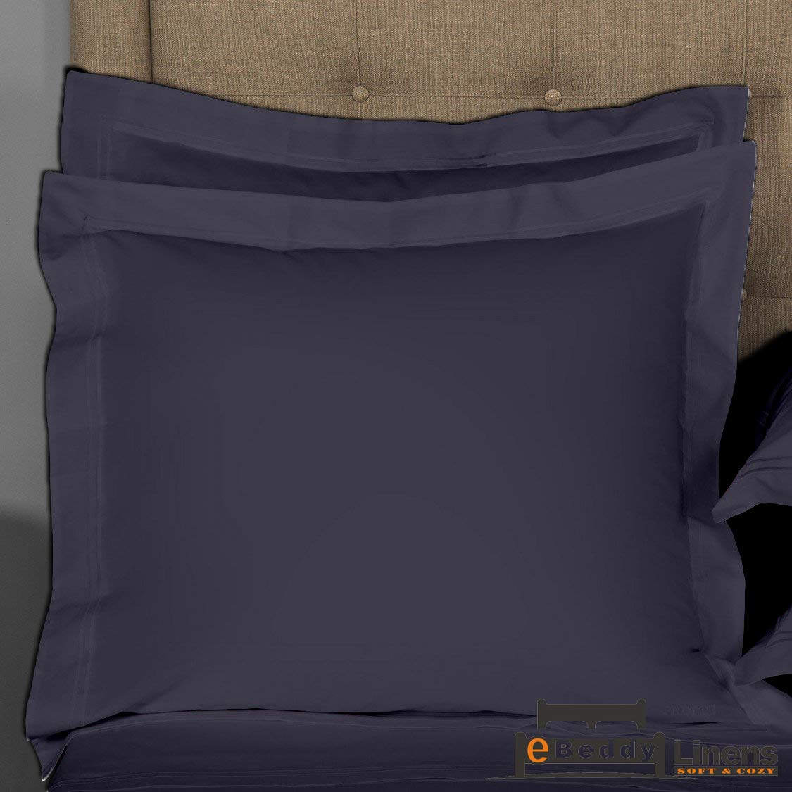 Pillow sham Set of 2 Navy Blue Solid 800 Thread Count Sofa/Square (20x20) Size Envelope Closure Pillow Cover | Long Staple - Sateen Weave Silky Soft Natural Cotton | breathable & Smooth Feel