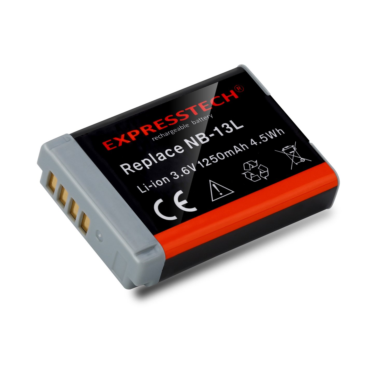 Expresstech @ Repuesto reemplazo Batería para Canon NB-13L PowerShot G5X G7X G9X, G7X Mark II, SX620 HS, SX720 HS