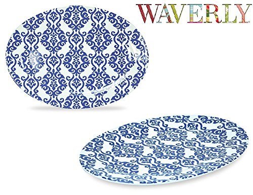 Waverly Solar Flair Collection 12'' Oval Serving Platter 2 Pack 100% Melamine Shatter-Proof and Chip-Resistant by WAVERLY