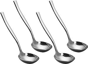 Teyyvn 4-Piece Kitchen Serving Gravy Ladles, Stainless Steel Sauce Ladle, Soup Ladle