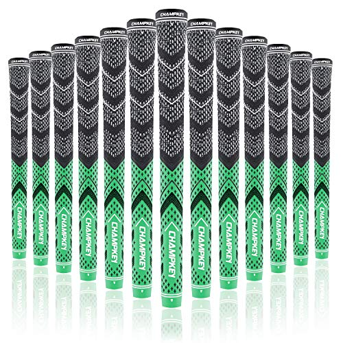 Champkey Victor Golf Grips Set of 13(Free 15 Tapes Included) - Cross Cotton Technology Golf Club Grips Ideal for Clubs Wedges Drivers Irons Hybrids(Green&Black, Midsize)...