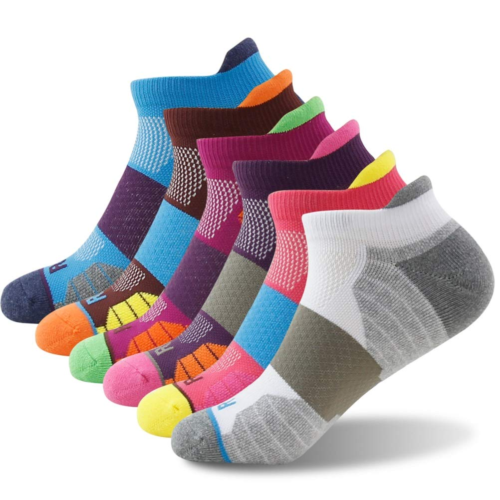 Getspor Cycling Ankle Socks, Women's Men's Comfortable Padded Sole All Sports Peformance Heel Tab Large Size Athletic Socks for Running Walking 6 Pairs Multicolor by Getspor