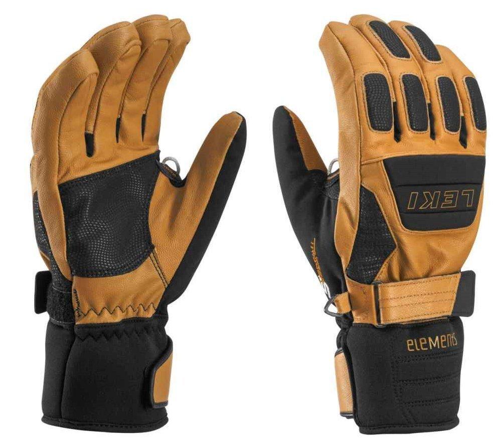 Leki Krypton S Gloves, 7.0/Small, Tan/Black