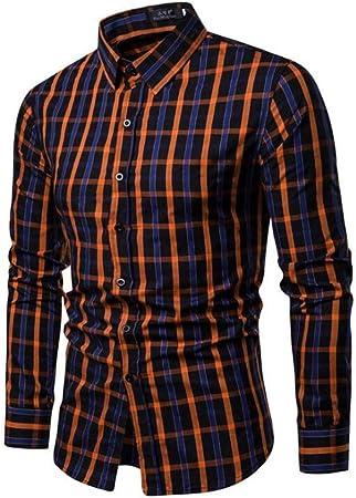 LFANH Manga Larga para Hombre comprobó la Camisa, Tela Escocesa del algodón Ocasional de la Camisa del Negocio Camisa de Vestir de Estilo clásico Orange XL: Amazon.es: Hogar