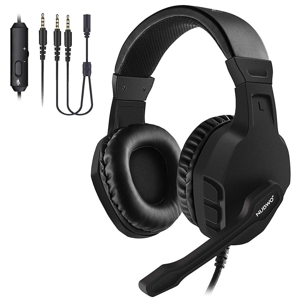 NUBWO Gaming Headset, Xbox One PS4 Headset, Noise Cancelling Over Ear Gaming Headphone Mic, Comfort Earmuffs, Lightweight, Easy Volume Control for Xbox 1 S X Playstation 4 Computer Laptop Black