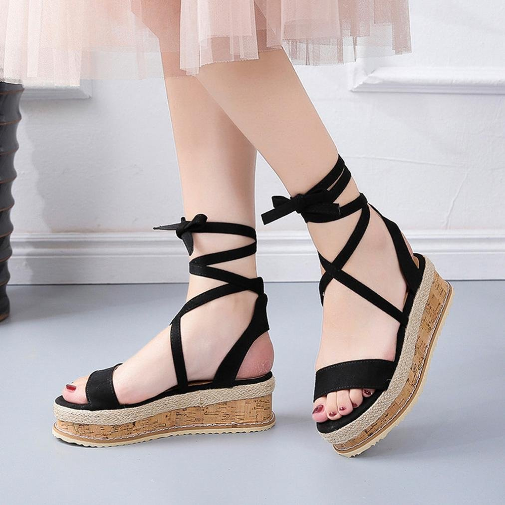 f74591d35b65 Fiaya Women s Roman Shoes Platform Ankle Tie Up Shoes Braided Thick-Bottom  Waterproof Gladiator Wedge Sandals (Black