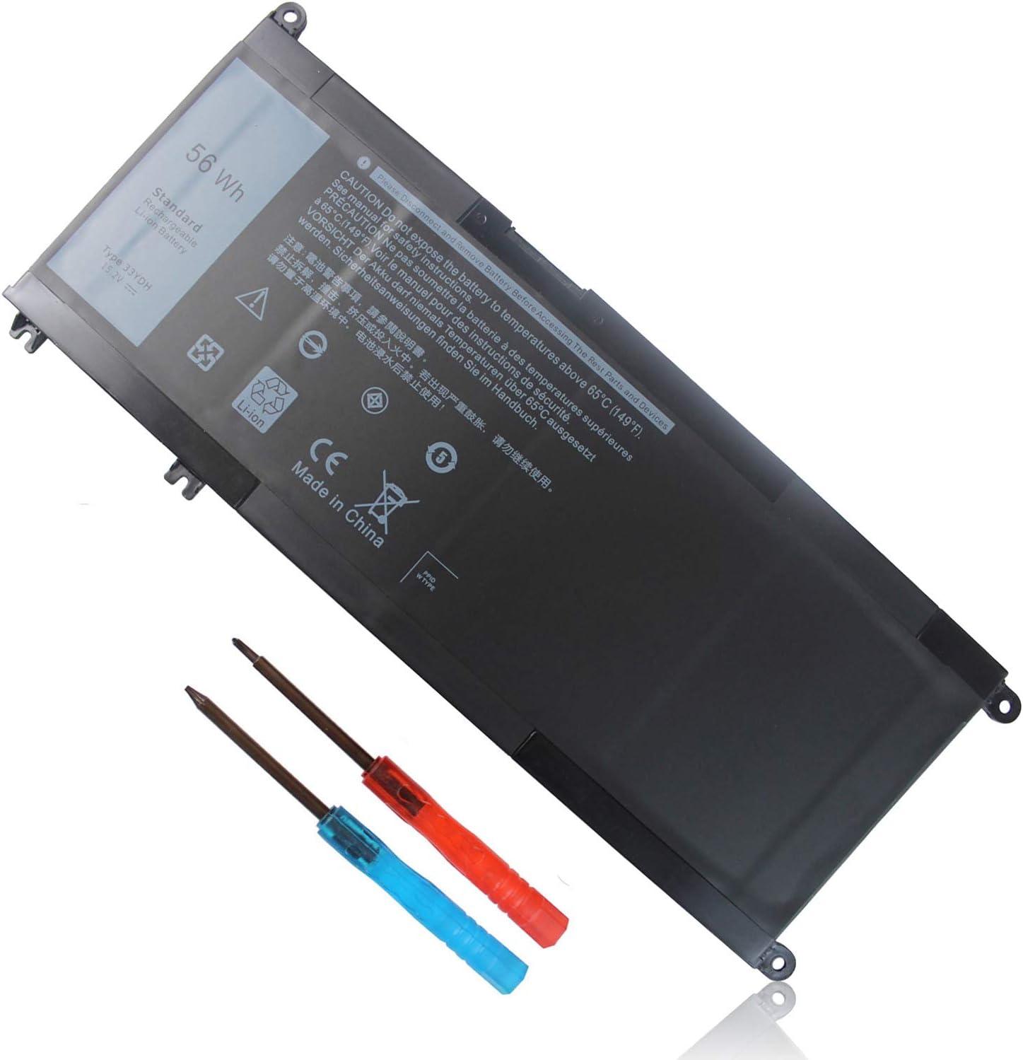 56Wh 33YDH 15.2V Battery for Dell Inspiron 17 7000 7773 7779 7778 7786 2-in-1 15 7577 Latitude 15 3590 3580 3490 3380 G5 15 5587 G3 3579 3779 G7 7588 Vostro 7580 7570 PVHT1 P30E P30E001 81PF3 081PF3
