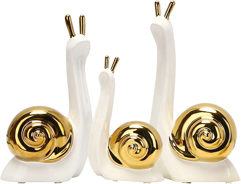 Edudif Ceramic Snail Statues Small Animal Sculpture Figurine Decor Modern Artware Gifts for Home Living Room Office Decor(Set of 3) (White)