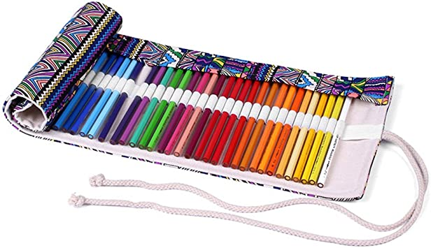 zreal 36 agujeros – Estuche enrollable en lienzo Retro caja de lápices en lienzo con impresión de imágenes, rodillo para lápices de color bolsa de almacenamiento lienzo elefante bolsillo: Amazon.es: Bricolaje y