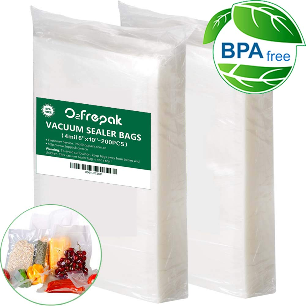 Premium!200 Pint Size 4mil 6''x10'' Vacuum Sealer Bags .Commercial Grade for Food Vacuum Storage Bags for Food Saver and Sous Vide, BPA Free and FDA Approval by O2frepak