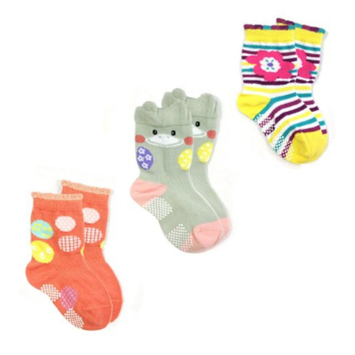 Wrapables Animal Non-Skid Toddler Socks Set of 3 Duck Small