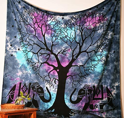 Americana Decor's Tree With Elephant Mandala Tapestry , Queen Elephant Tapestry , Picnic Beach Sheet , Decorative Wall Hanging.