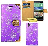 HTC Desire 816 Case, FoneExpert® Bling Luxury Diamond Leather Wallet Book Bag Case Cover For HTC Desire 816 + Screen Protector & Cloth (Purple)