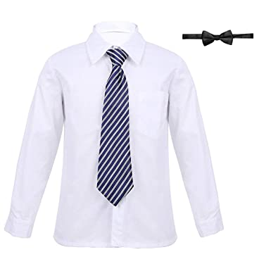 2713cb1ba7104 YiZYiF Enfant Garçon Uniforme Scolaire Chemise Blanche à Manche Longue  Chemise de Mariage Costume de Danse
