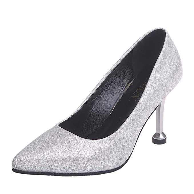 975fc88976 Amazon.com: Cenglings Women's Pointed Toe Solid Stiletto Heels Pumps ...