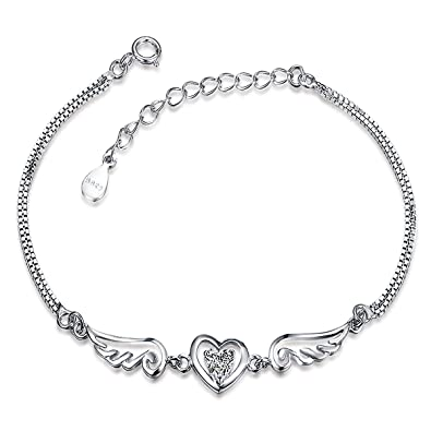 Meixao Womens Charm Bracelet 925 Sterling Silver Fashion Angel Wings Love Heart Cubic Zirconia Hand Link Chain, Adjustable