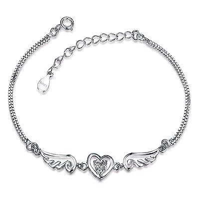 Meyiert Ladies S925 Sterling Silver Heart Bracelet Shiny Cubic Zirconia Cut CZ for Womens and girls LVhikIU