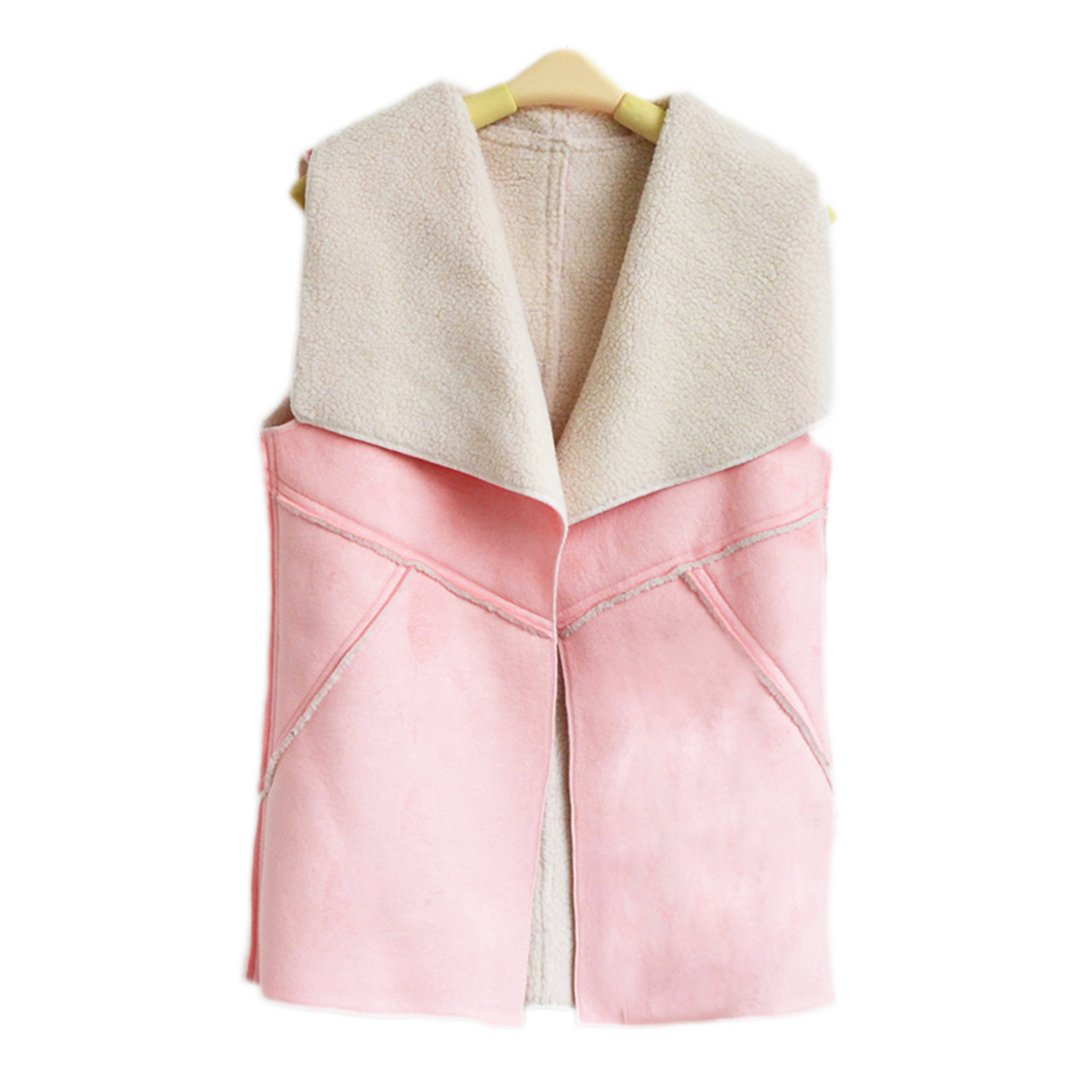 Women Sleeveless Lapel Faux Fur Suede Sherpa Winter Vest Cardigan Waistcoat