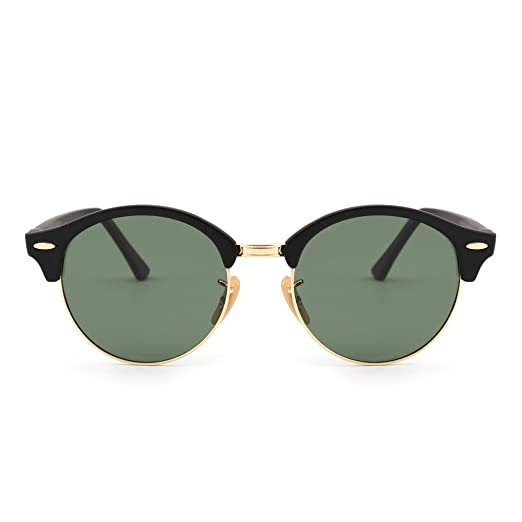 7f124a79cf6c4 JIM HALO Retro Round Polarized Sunglasses Semi Rimless Browline Eyeglasses  for Women Men (Matte Black