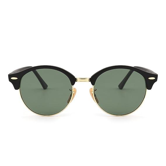 c2a9ecab30 Retro Round Polarized Sunglasses Semi Rimless Browline Eyeglasses for Women  Men (Matte Black Polarized