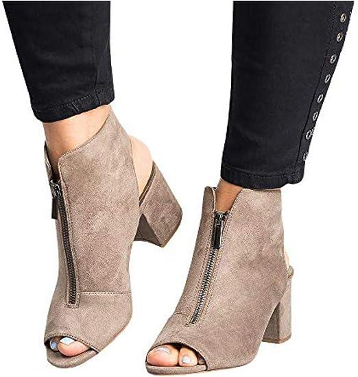 Women/'s Peep Toe Sandals Mid Block Heel Ladies Open Back Zipper Ankle Shoes Size