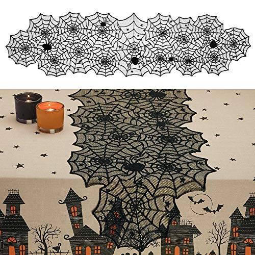 Black Spider Web 18x72 Halloween Polyester Lace Table Runner Perfect for Dinner Parties and Scary Movie Nights