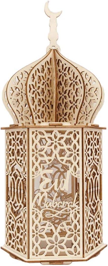 1 Piece Muslim Party Decoration Wooden LED Home Lights Ramadan Eid Mubarak Decoration Gifts Islamic Party Supplies