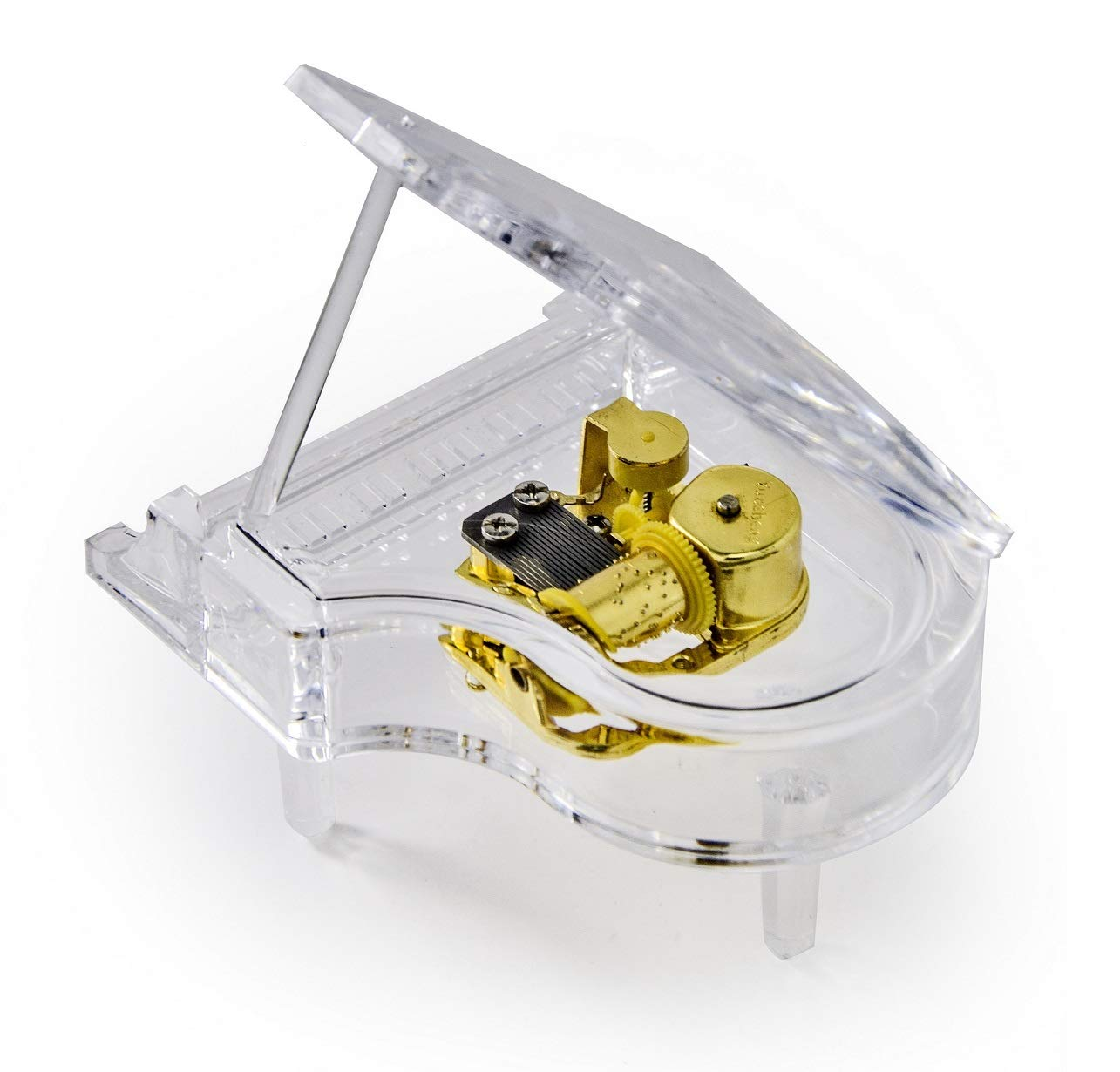 MusicBoxAttic Clear Acrylic 18 Note Grand Piano with Propped Lid - Over 400 Song Choices - Shall We Dance