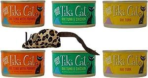 Tiki Cat Grain Free Cat Food 3 Flavor Variety 6 Can with Toy Bundle, 2 Each: Ahi Tuna Prawns, Ahi Tuna Chicken, Ahi Tuna (2.8 Ounces)