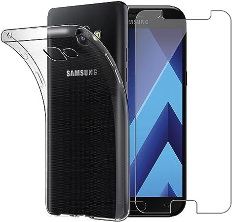 Yoowei Coque Samsung Galaxy A3 2017 avec [Verre trempé écran Protecteur], Transparente Silicone en Gel TPU Etui Galaxy A3 2017 Coque de Protection ...