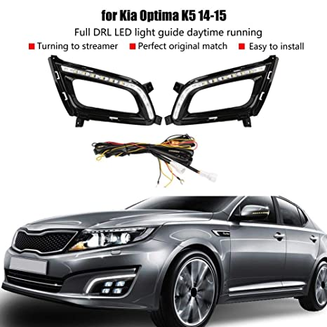 1Pair Left /& Right Car Daytime Driving Light Turn Signal 2-Colors LED Fog Lamps with DRL Controller for Toyota RAV4 16-18