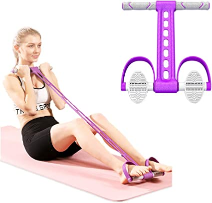 4-Tube Fitness Foot Pedal Rope Resistance Yoga Setup Loop Band Body Fitness