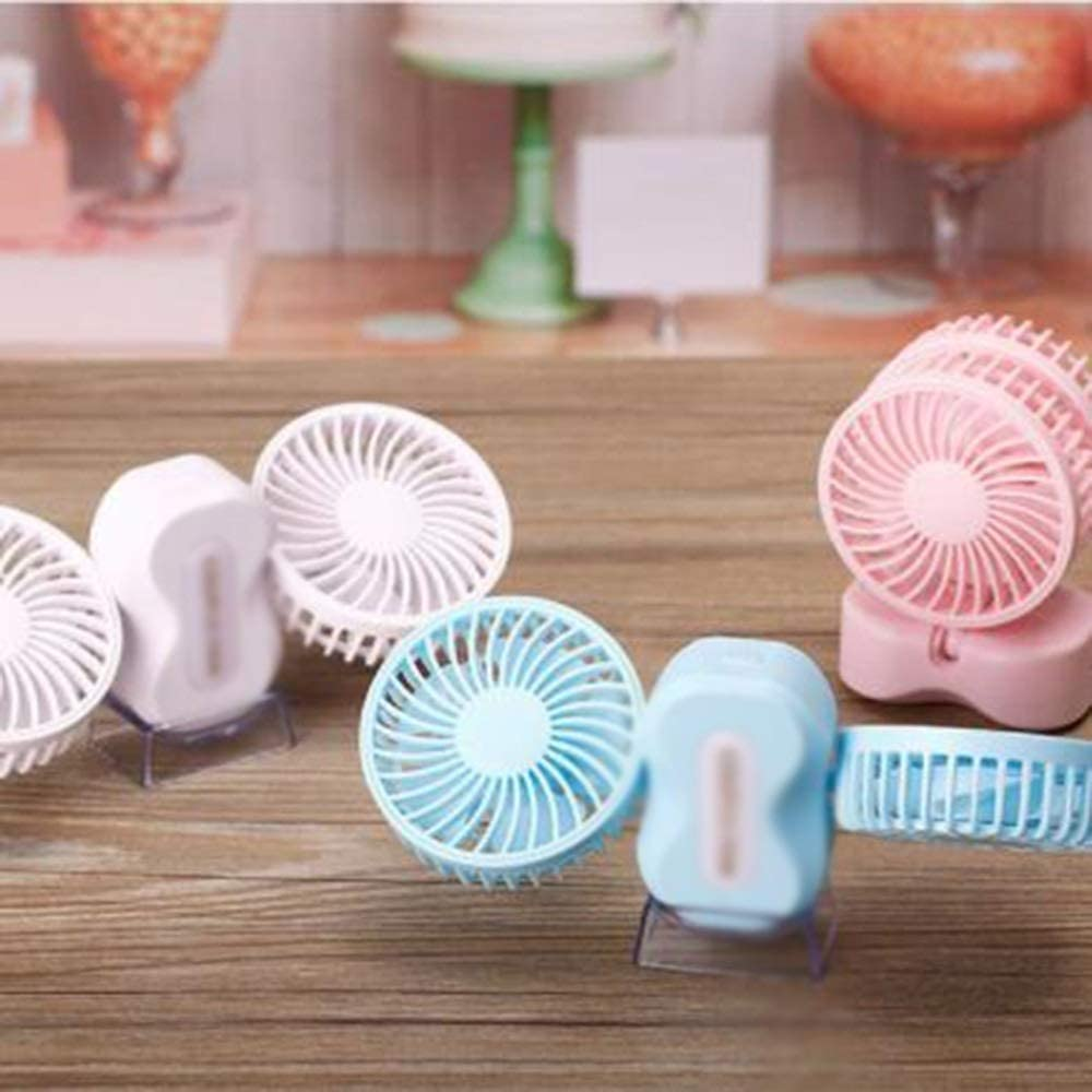 LMMNFS USB Charging Small Fan Couple Electric Fan Blue//White//Pink Student Dormitory Silent Carrying Fan Desk Fan 180 Degree Rotation Combined into one Color : White Strong Wind