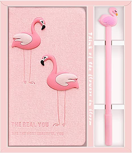 Lovely Flamingos Journal Notebook Dairy with Pen Creative Gift Box Set Girls