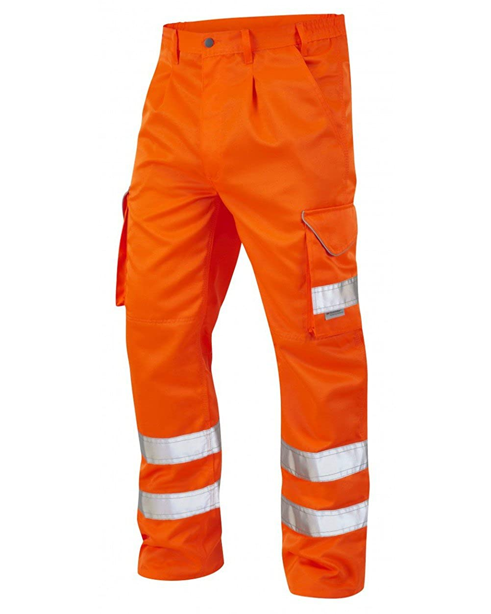 Leo Workwear Hi VIS Cargo High Visibility Bideford Polycotton Work Trouser In Orange and Yellow 28'-56' Style : CT01