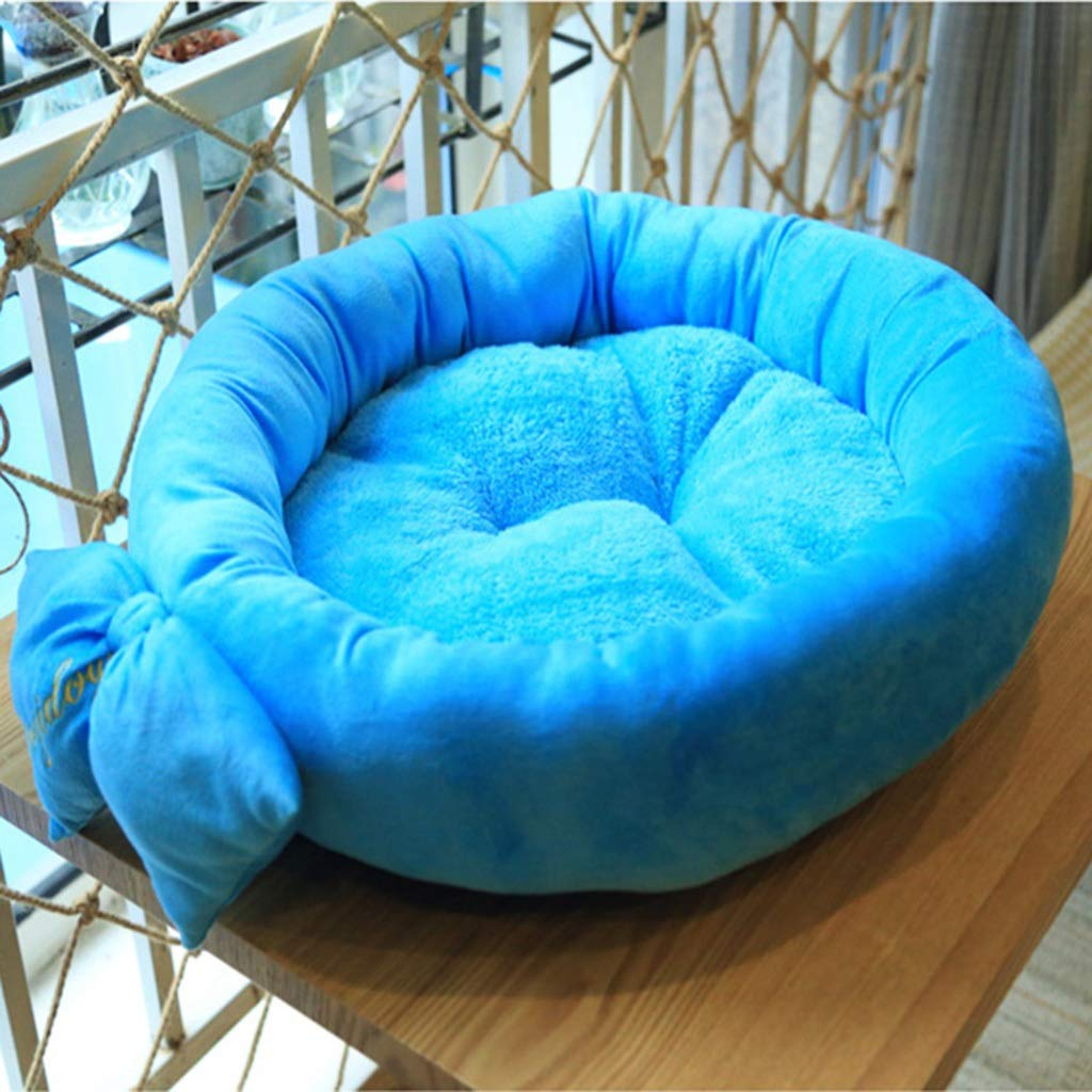 bluee Warm Cat and Dog Bed Round Sleeper Small Pet Bed Pet Products for Small Medium Pet Bulldog Poodle Removable Cover (color   bluee)