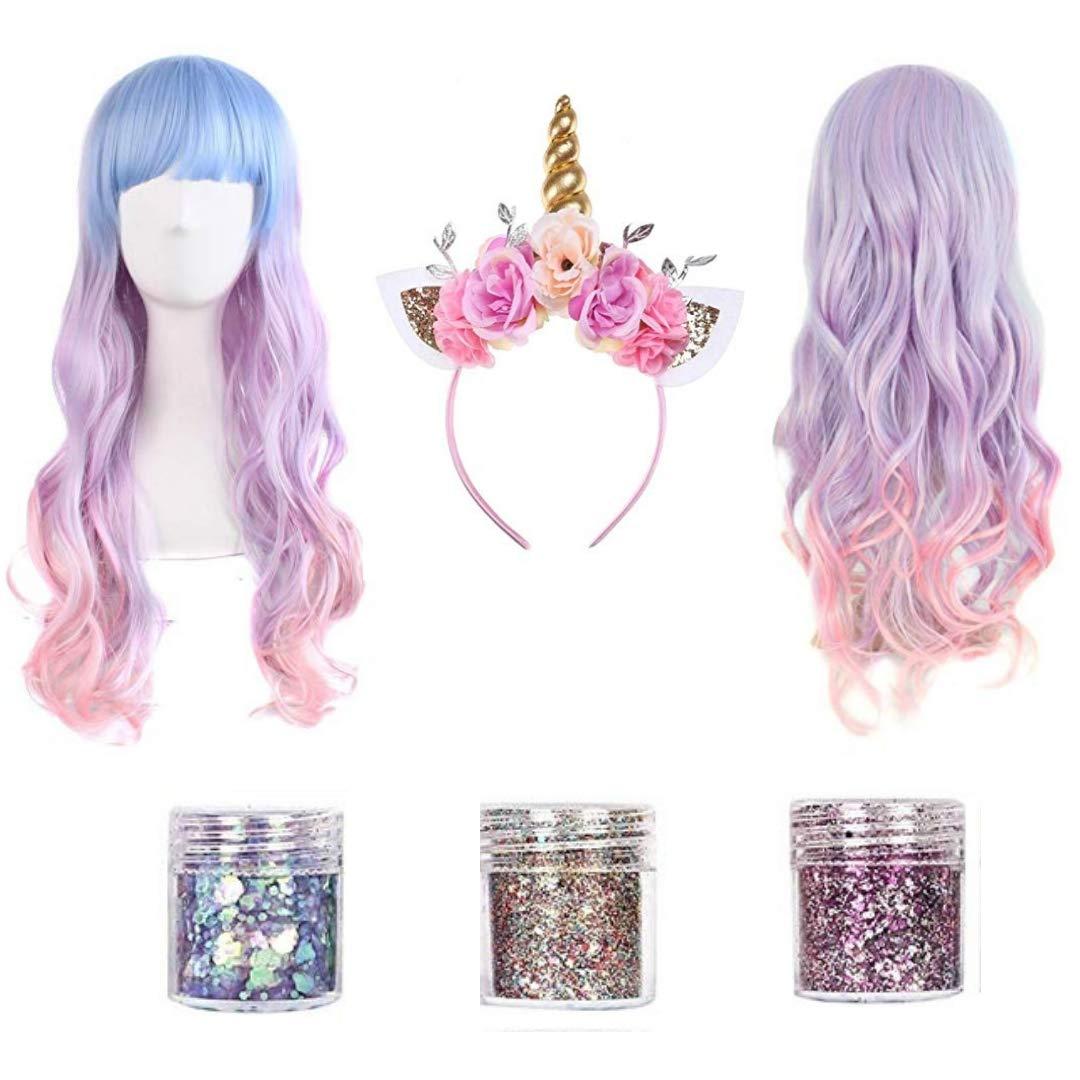Unicorn Gifts | Unicorn Headband Adult | Rave Clothes | Unicorn Toys for Girls | Unicorn Gifts for GIrls | Unicorn Costume Women | Unicorn Wig | Silver Glitter | Pink Wigs for Women | Glitter Makeup
