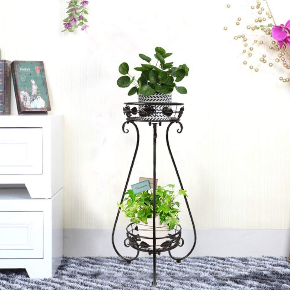 Metal Plant Pot Stand Two Layer Flower Pot Rack Shelf Hold Plant tray For Indoor Or Outdoor Black