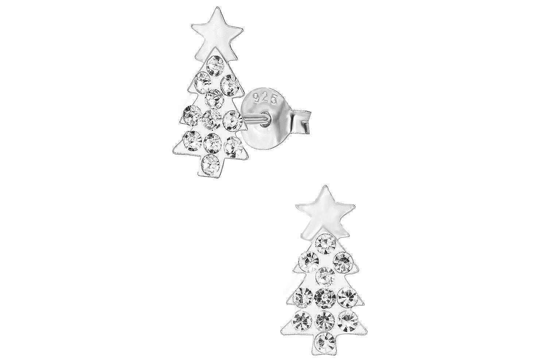 c3c71e605b383 Hypoallergenic Sterling Silver Crystal Christmas Tree Stud Earrings for  Kids (Nickel Free)