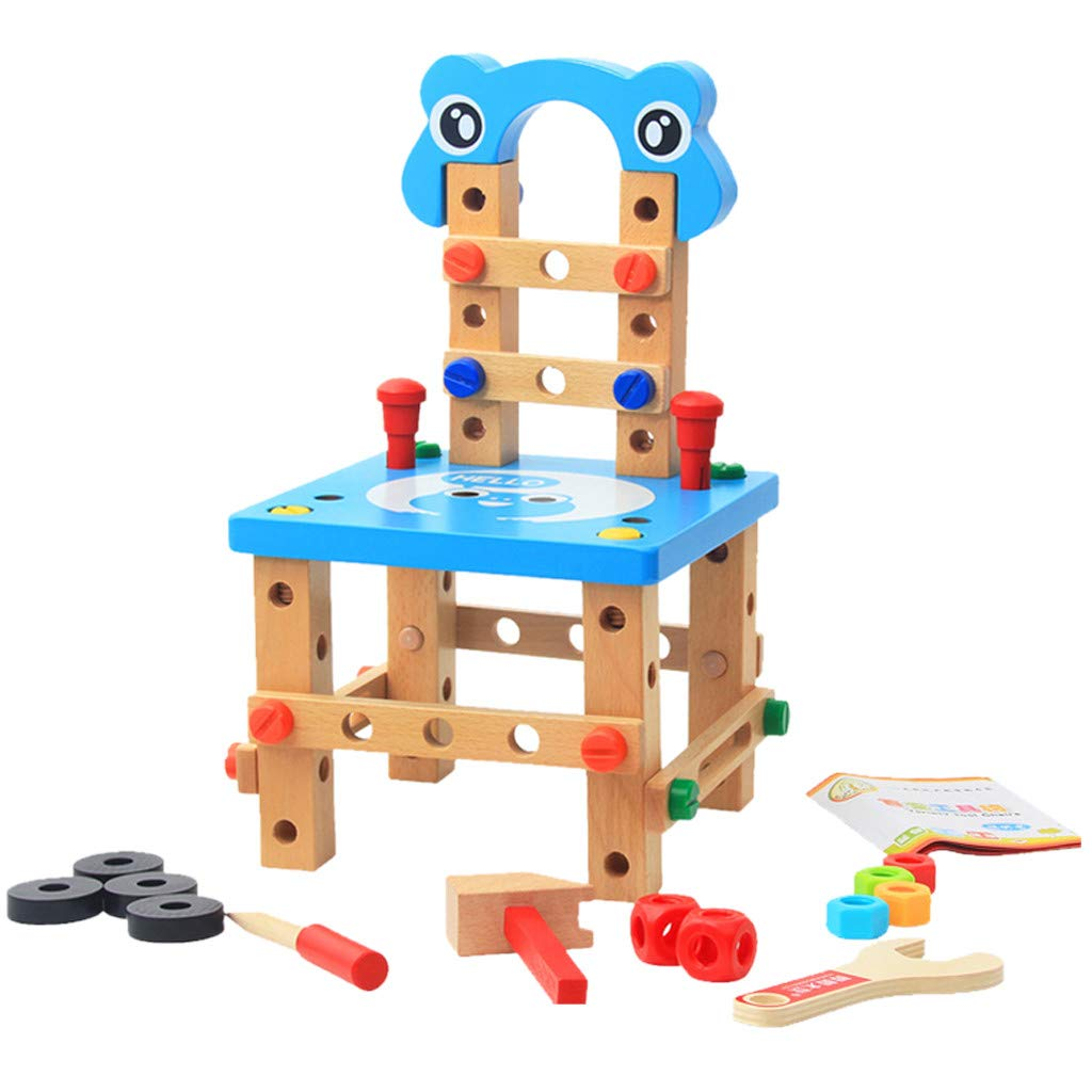 DIY Assembly Toy, Luban Chair Disassembly Assembly Of Nuts Three-dimensional Toy, Double Game, Interaction Puzzle Games for Kids 5 and Up (♥ Blue) by DaoAG