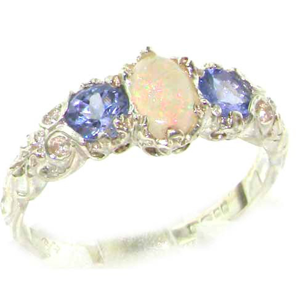 925 Sterling Silver Real Genuine Opal and Tanzanite Womens Promise Ring - Size 9