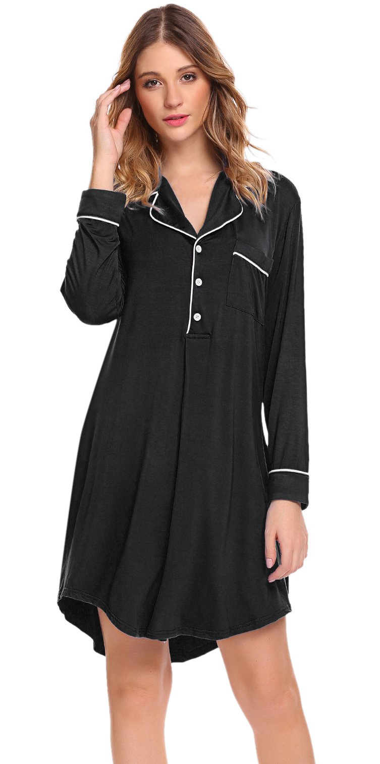 Sweetnight Women Long Sleeve Boyfriend Style Sleepwear Nightgowns Notch Collar Button Down Sleep Shirt (S, Black#1)
