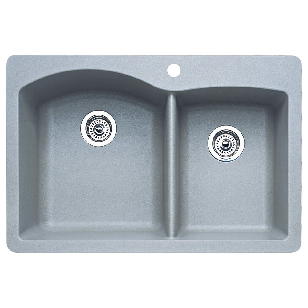 Blanco 440214 Diamond 1-3/4 Bowl Kitchen Sink, Metallic Gray Finish ...
