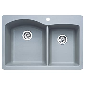 Blanco 440214 Diamond 1 3 4 Bowl Kitchen Sink Metallic Gray Finish