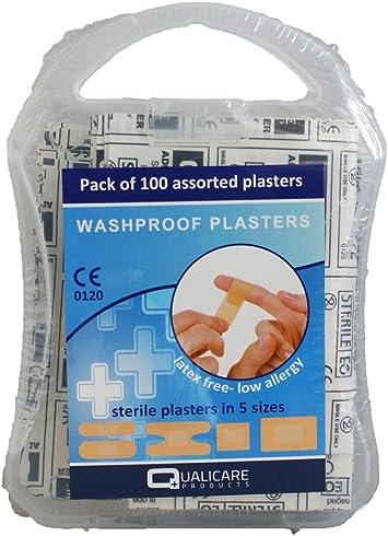 Qualicare Washproof tiritas (caja de plástico de 100): Amazon.es: Salud y cuidado personal
